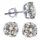 3 CARAT BRILLIANT ROUND CUT DIAMOND STUD EARRINGS 14KT WHITE GOLD