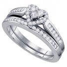 HEART SHAPE DIAMOND ENGAGEMENT PROMISE HALO RING WEDDING BAND BRIDAL SET 14KT