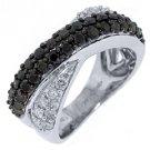 WOMENS BLACK DIAMOND RING WEDDING BAND RIGHT HAND 1.45 CARAT ROUND WHITE GOLD