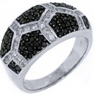 WOMENS BLACK DIAMOND RING WEDDING BAND RIGHT HAND 1.06 CARAT ROUND WHITE GOLD