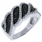 WOMENS BLACK DIAMOND RING WEDDING BAND RIGHT HAND 1 CARAT ROUND CUT WHITE GOLD