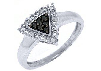WOMENS LADIES BLACK DIAMOND ENGAGEMENT PROMISE RING 1/4 CARAT ROUND WHITE GOLD