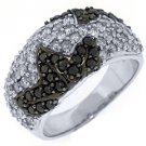 WOMENS BLACK DIAMOND RING WEDDING BAND RIGHT HAND 1.51 CARAT ROUND WHITE GOLD