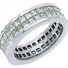WOMENS DIAMOND ETERNITY BAND WEDDING RING SQUARE PRINCESS 3.5 CARAT 950 PLATINUM