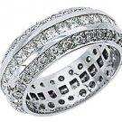 WOMENS DIAMOND RING ETERNITY BAND 3.5 CARATS PRINCESS ANTIQUE 950 PLATINUM