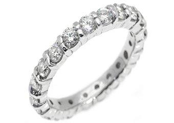 WOMENS DIAMOND ETERNITY BAND WEDDING RING ROUND CUT PRONG SET 950 PLATINUM