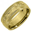 MENS WEDDING BAND ENGAGEMENT RING 14KT YELLOW GOLD HIGH GLOSS 7mm