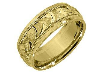 MENS WEDDING BAND ENGAGEMENT RING 14KT YELLOW GOLD SATIN FINISH 7mm