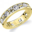 DIAMOND ETERNITY BAND WEDDING RING ALTERNATING ROUND CUT YELLOW GOLD 1.50 CARATS