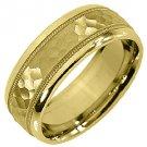 MENS WEDDING BAND ENGAGEMENT RING 14KT YELLOW GOLD SATIN HAMMERED FINISH 7mm