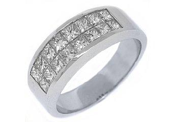 MENS 2.68 CARAT DIAMOND RING WEDDING BAND SQUARE PRINCESS INVISIBLE WHITE GOLD