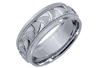 MENS WEDDING BAND ENGAGEMENT RING 14KT WHITE GOLD SATIN FINISH 7mm