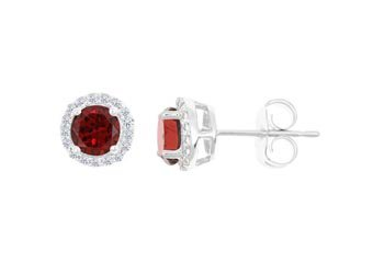 3.53 CARAT GARNET & DIAMOND STUD HALO EARRINGS 7mm ROUND JANUARY BIRTH STONE