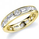 DIAMOND ETERNITY BAND WEDDING RING ROUND & BAGUETTE CUT YELLOW GOLD 2.70 CARATS