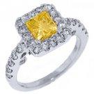 2 CARAT WOMENS FANCY YELLOW DIAMOND ENGAGEMENT HALO RING PRINCESS CUT WHITE GOLD