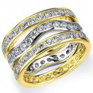 WOMENS DIAMOND ETERNITY BAND WEDDING RING ROUND 14KT WHITE & YELLOW GOLD 3-ROW
