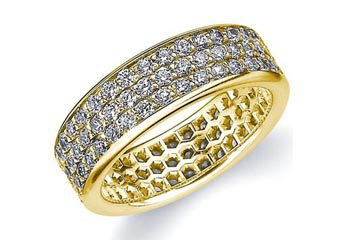 DIAMOND ETERNITY BAND WEDDING RING ROUND YELLOW GOLD 1.50 CARATS 3-ROWS