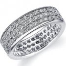 DIAMOND ETERNITY BAND WEDDING RING ROUND WHITE GOLD 1.50 CARATS 3-ROWS