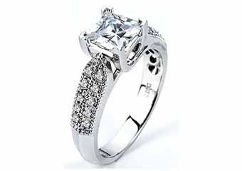 WOMENS DIAMOND ENGAGEMENT RING PRINCESS CUT 1.30 CARAT 18K WHITE GOLD
