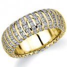 DIAMOND ETERNITY BAND WEDDING RING ROUND YELLOW GOLD 2.7 CARATS VERTICAL LINE
