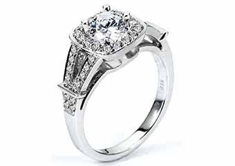 WOMENS DIAMOND ENGAGEMENT HALO RING ROUND CUT 1.37 CARATS 14KT WHITE GOLD