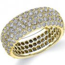 DIAMOND ETERNITY BAND WEDDING RING ROUND MICRO PAVE SET 14K YELLOW GOLD 3 CARATS