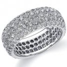 DIAMOND ETERNITY BAND WEDDING RING ROUND MICRO PAVE SET 14K WHITE GOLD 3 CARATS