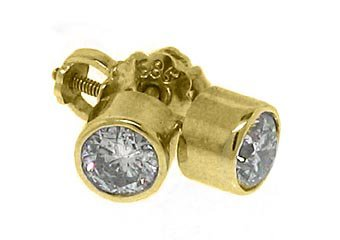 .70 CARAT BRILLIANT ROUND BEZEL SET DIAMOND STUD EARRINGS YELLOW GOLD