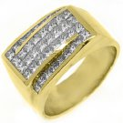 MENS 3 CARAT PRINCESS SQUARE CUT DIAMOND RING WEDDING BAND 14KT YELLOW GOLD