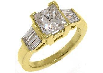 2 CARAT WOMENS DIAMOND ENGAGEMENT WEDDING RING PRINCESS BAGUETTE CUT YELLOW GOLD