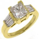 2 CARAT WOMENS DIAMOND ENGAGEMENT WEDDING RING PRINCESS BAGUETTE CUT YELLOW GOLD
