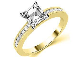 1.3 CARAT WOMENS DIAMOND ENGAGEMENT WEDDING RING ASSCHER CUT SHAPE YELLOW GOLD
