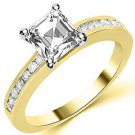 1.3 CARAT WOMENS DIAMOND ENGAGEMENT WEDDING RING ASSCHER CUT SHAPE YELLOW GOLD