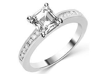 1.3 CARAT WOMENS DIAMOND ENGAGEMENT WEDDING RING ASSCHER CUT SHAPE WHITE GOLD