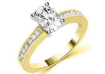 1.3 CARAT WOMENS DIAMOND ENGAGEMENT WEDDING RING CUSHION CUT SHAPE YELLOW GOLD