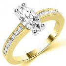 1.3 CARAT WOMENS DIAMOND ENGAGEMENT WEDDING RING MARQUISE CUT SHAPE YELLOW GOLD