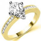 1.3 CARAT WOMENS DIAMOND ENGAGEMENT WEDDING RING PEAR SHAPE YELLOW GOLD