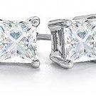 1 CARAT PRINCESS SQUARE CUT DIAMOND STUD EARRINGS WHITE GOLD SI2-3 H-I