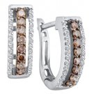 .48 CARAT BRILLIANT ROUND CUT  BROWN CHAMPAGNE DIAMOND HOOP EARRINGS WHITE GOLD