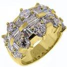 4.5 CARAT WOMENS ROUND BAGUETTE CUT DIAMOND RING WEDDING BAND YELLOW GOLD
