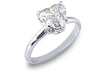 1.6 CARAT WOMENS SOLITAIRE HEART SHAPE CUT DIAMOND ENGAGEMENT RING WHITE GOLD I1