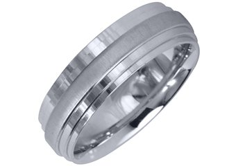 MENS WEDDING BAND ENGAGEMENT RING WHITE GOLD HIGH GLOSS & SATIN FINISH 6mm 37-A