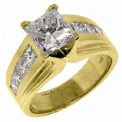 WOMENS 3 CARAT PRINCESS SQUARE CUT DIAMOND ENGAGEMENT RING YELLOW GOLD