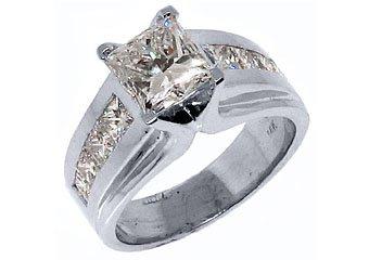 WOMENS 3 CARAT PRINCESS SQUARE CUT DIAMOND ENGAGEMENT RING WHITE GOLD
