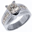 WOMENS 3 CARAT PRINCESS SQUARE CUT DIAMOND ENGAGEMENT RING WHITE GOLD