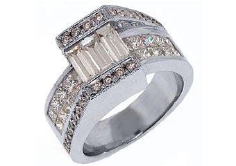 WOMENS 3 CARAT BAGUETTE PRINCESS SQUARE CUT DIAMOND ENGAGEMENT RING WHITE GOLD