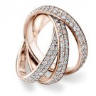 DIAMOND ROLLING ETERNITY BAND WEDDING RING ROSE GOLD 3 CARAT MICRO PAVE SET