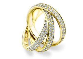 DIAMOND ROLLING ETERNITY BAND WEDDING RING YELLOW GOLD 3 CARAT MICRO PAVE