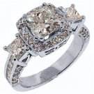 3.5 CARAT WOMENS 3-STONE DIAMOND ANNIVERSARY HALO RING PRINCESS CUT WHITE GOLD