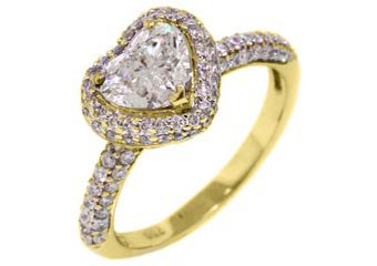 1.77 CARAT HEART SHAPE DIAMOND HALO ENGAGEMENT RING 14K YELLOW GOLD